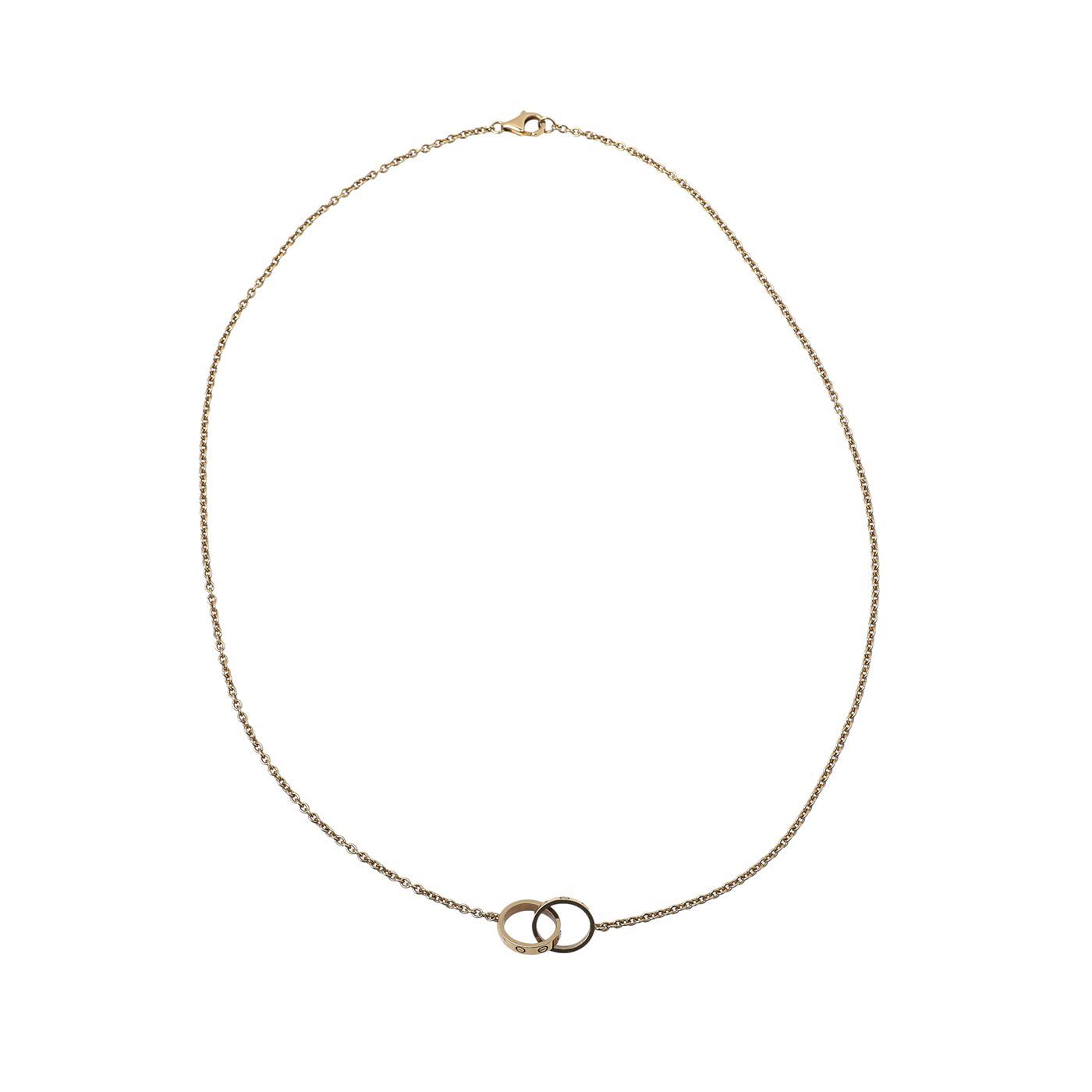 Cartier 18K Yellow Gold Love 2 Hoops Chain Necklace