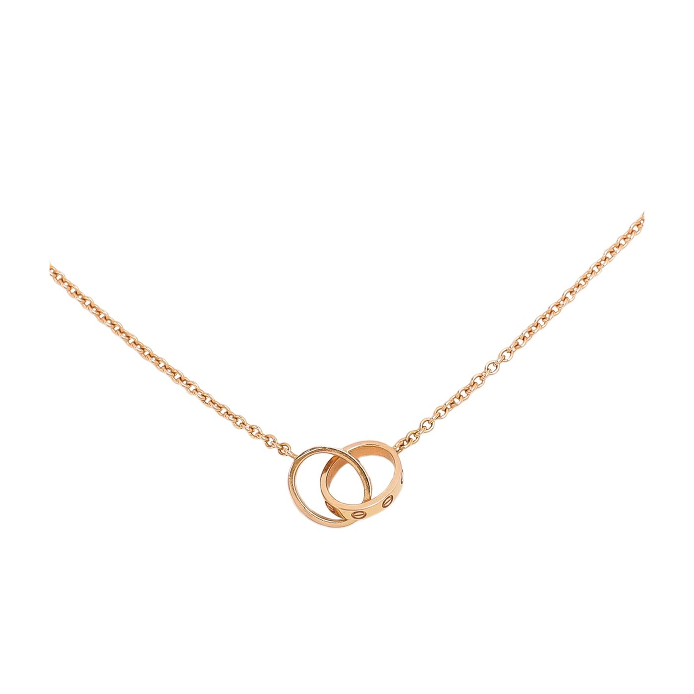 Cartier 18K Pink Gold Love Interlocking Hoops Necklace