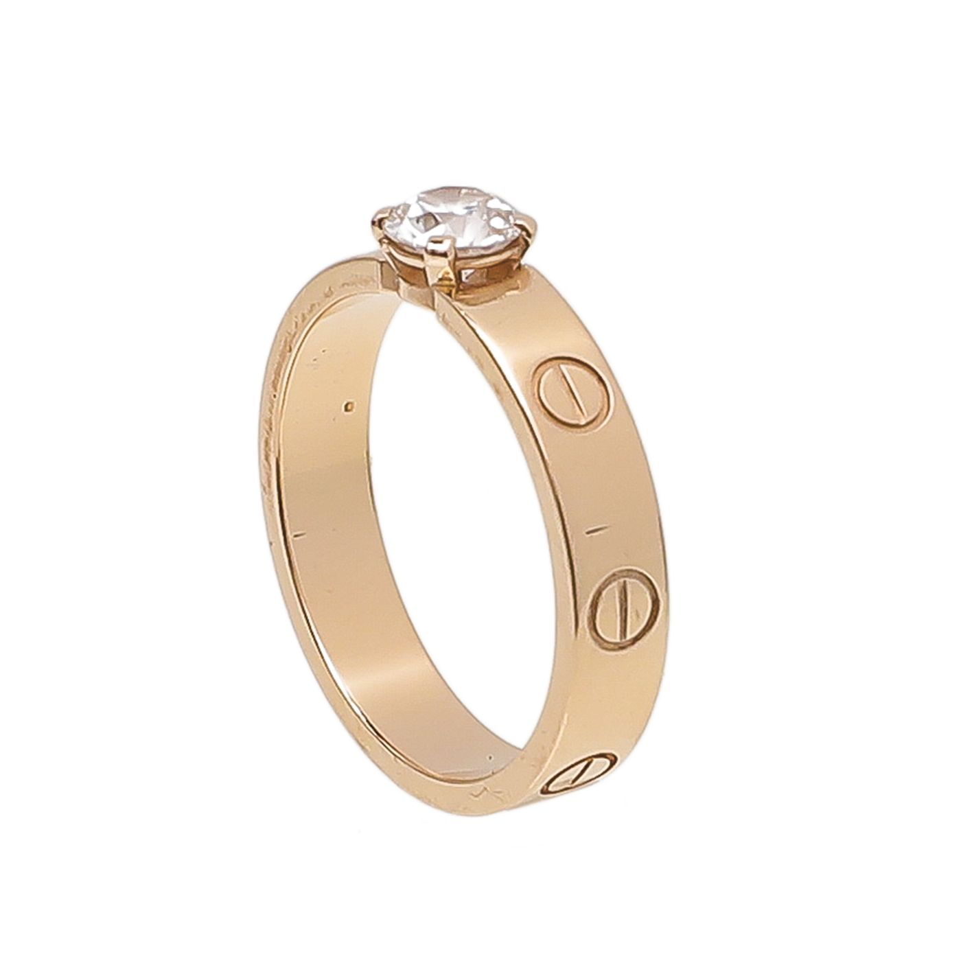 Cartier 18K Rose Gold Diamond Love Solitaire Ring 53