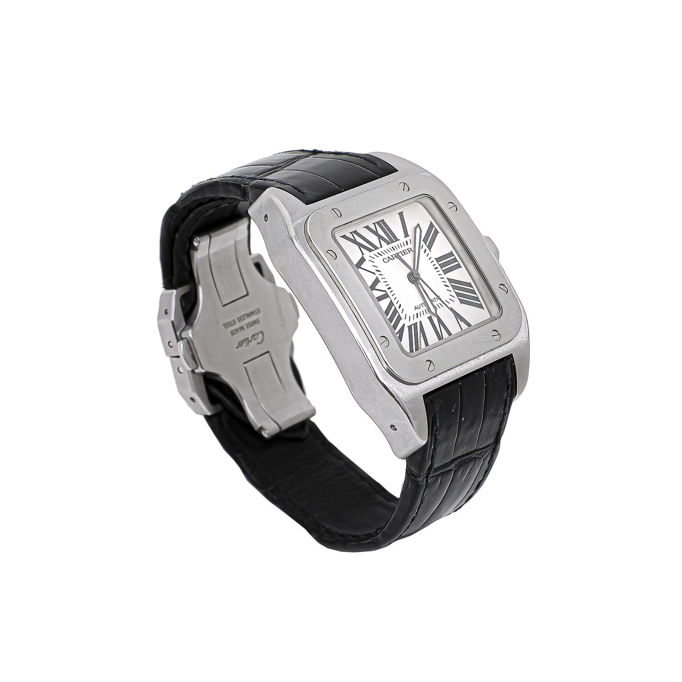 Cartier Silver / Black Santos 100 Watch