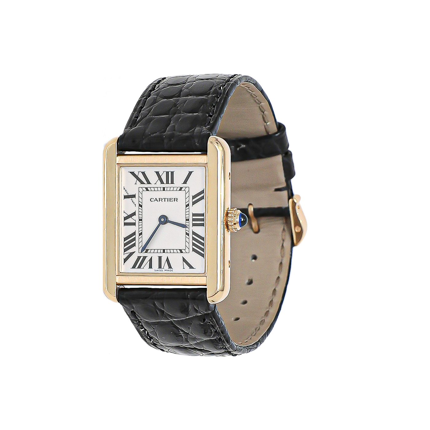 Cartier Gold / Black Tank Louis Watch Small
