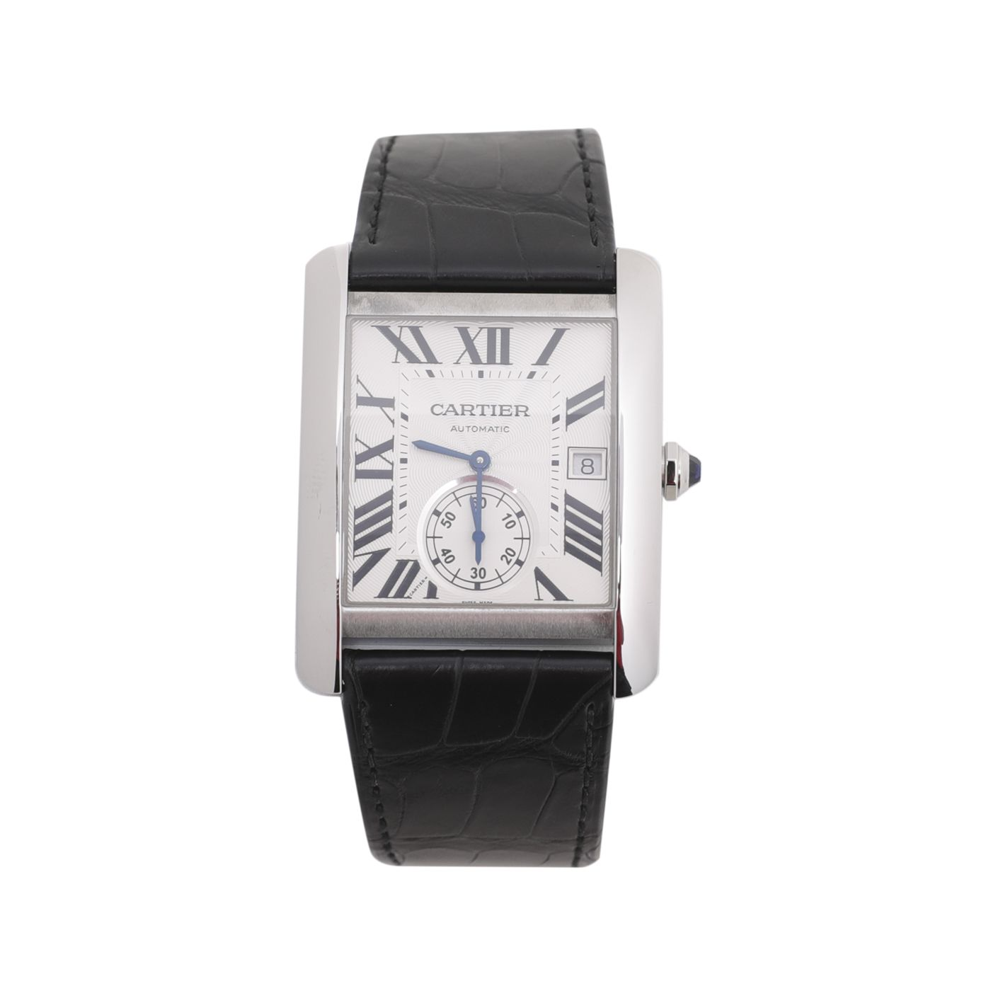 Cartier Black Croco Tank MC 34mm Strap Watch