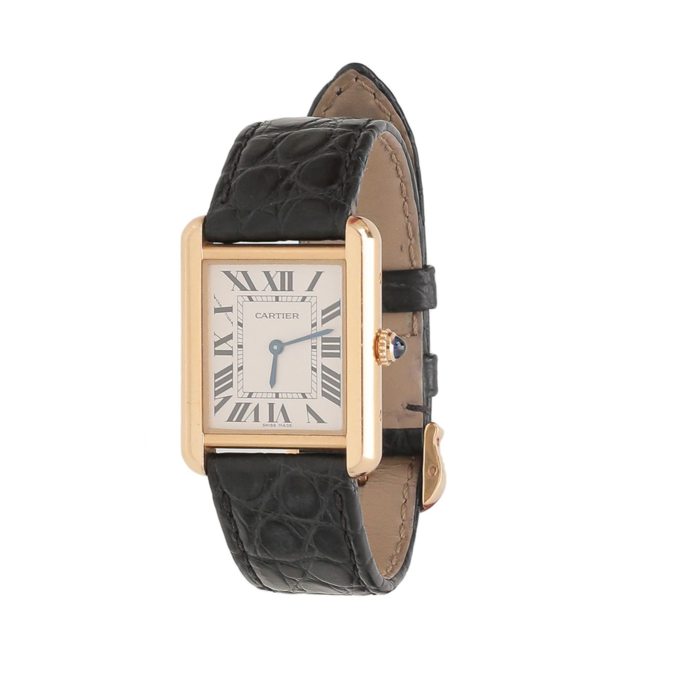 Cartier Yellow Gold/Black Tank Solo Small Quartz Watch