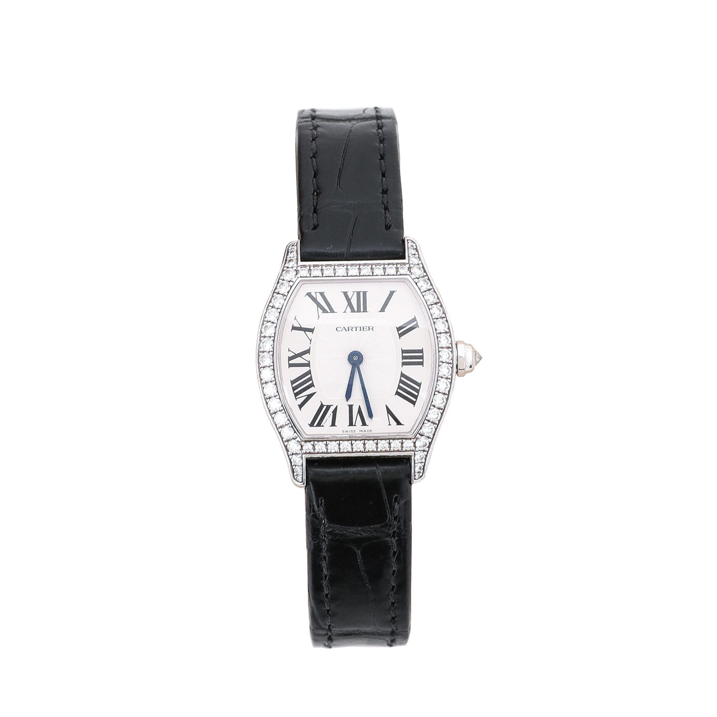 Cartier 18K White Gold / Black Alligator Strap Diamond Tortue Watch