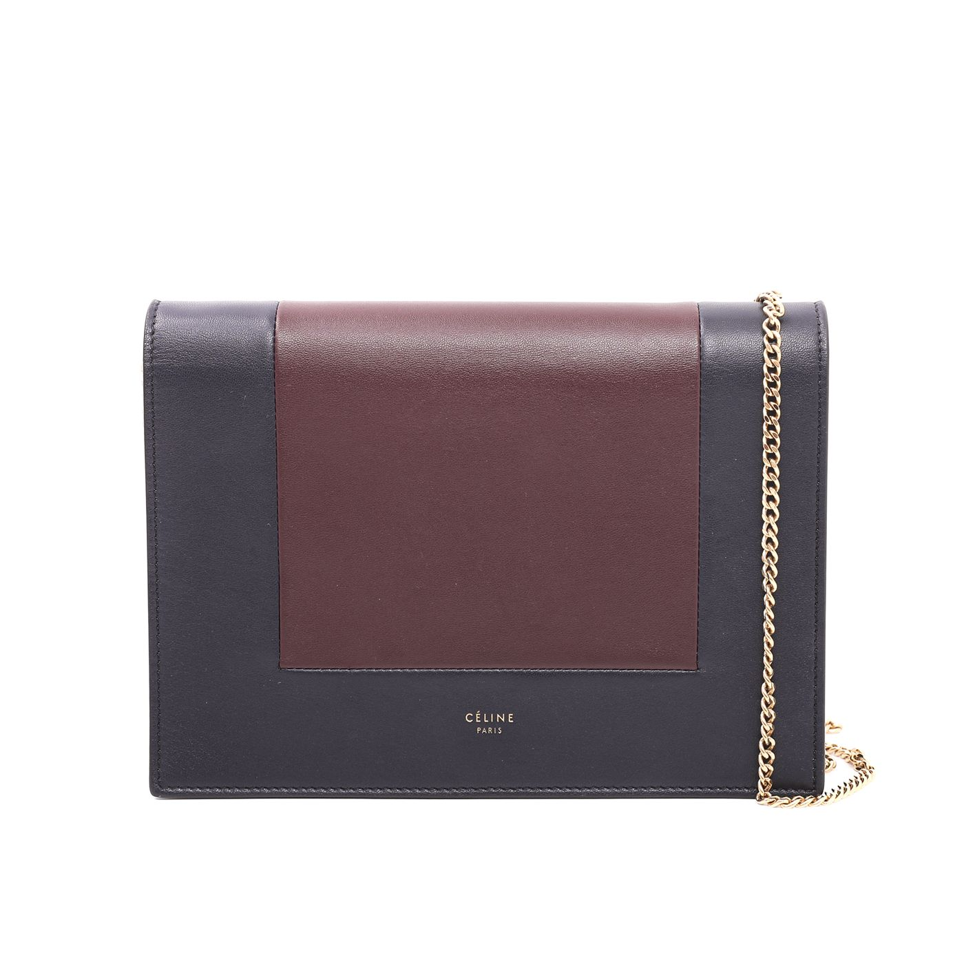 Celine Bicolor Frame-Evening Clutch On Chain