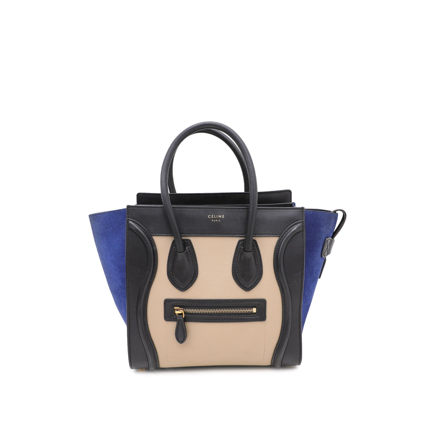 Celine Tricolor Suede/Leather Micro Luggage Bag