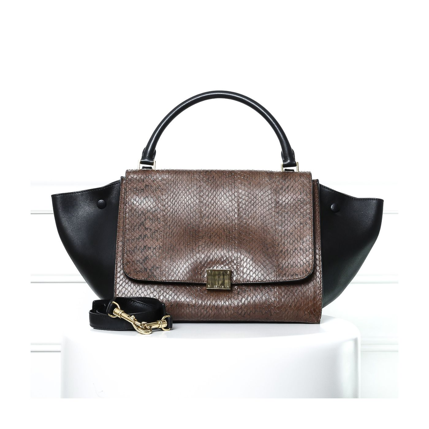 Celine Brown Python/Black Trapeze Medium