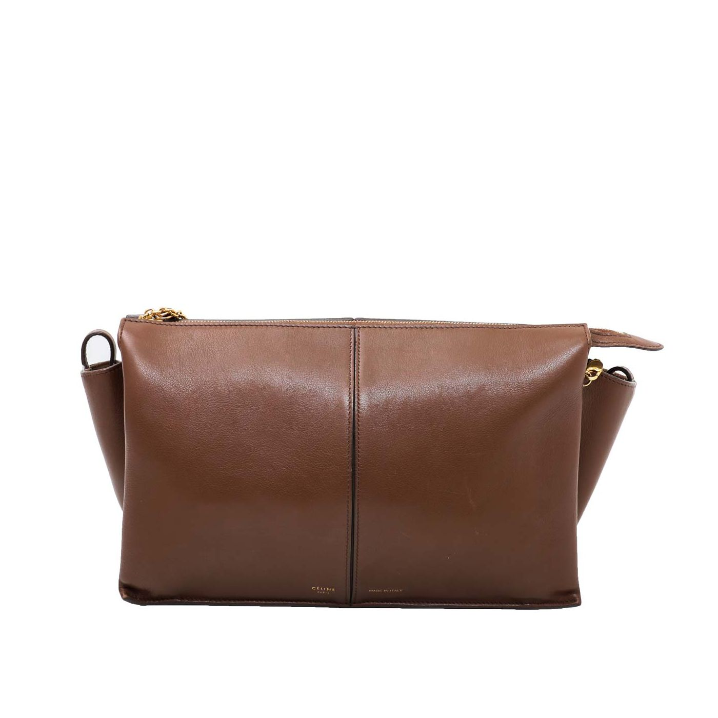 Celine Brown Trifold Chain Clutch