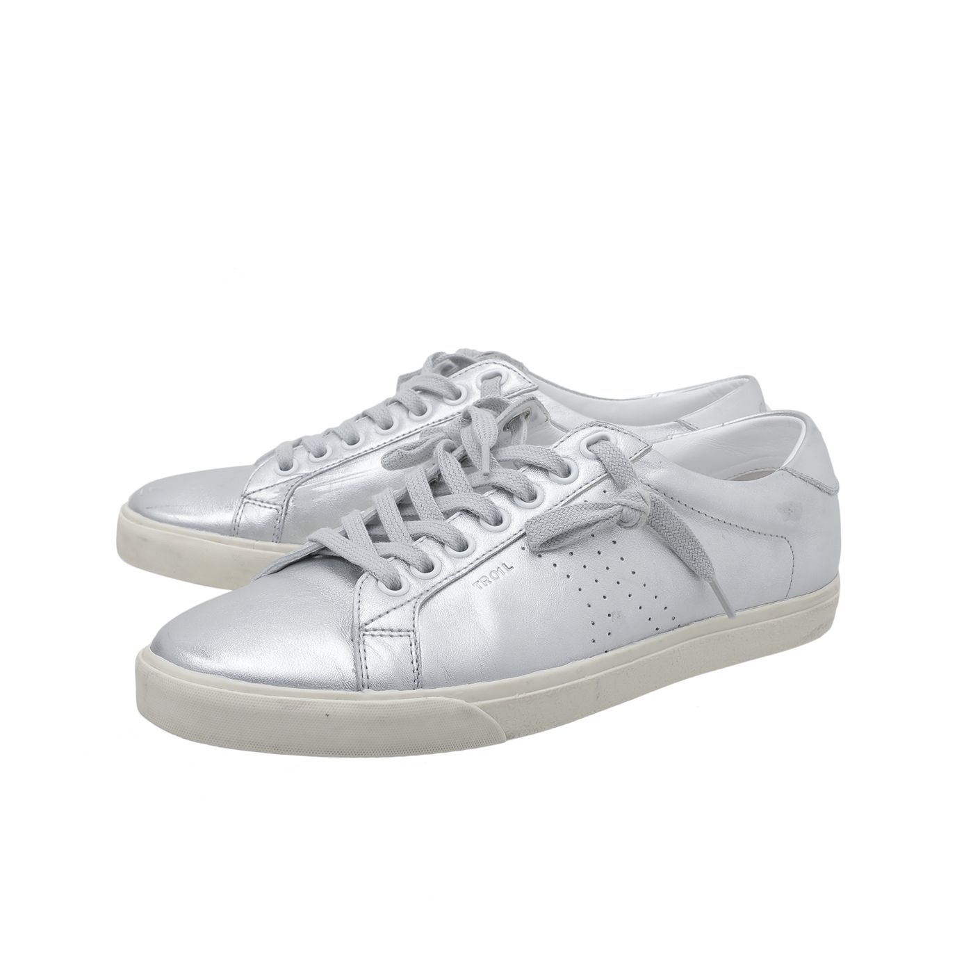 Celine Silver Triomphe Lace Up Sneakers 38