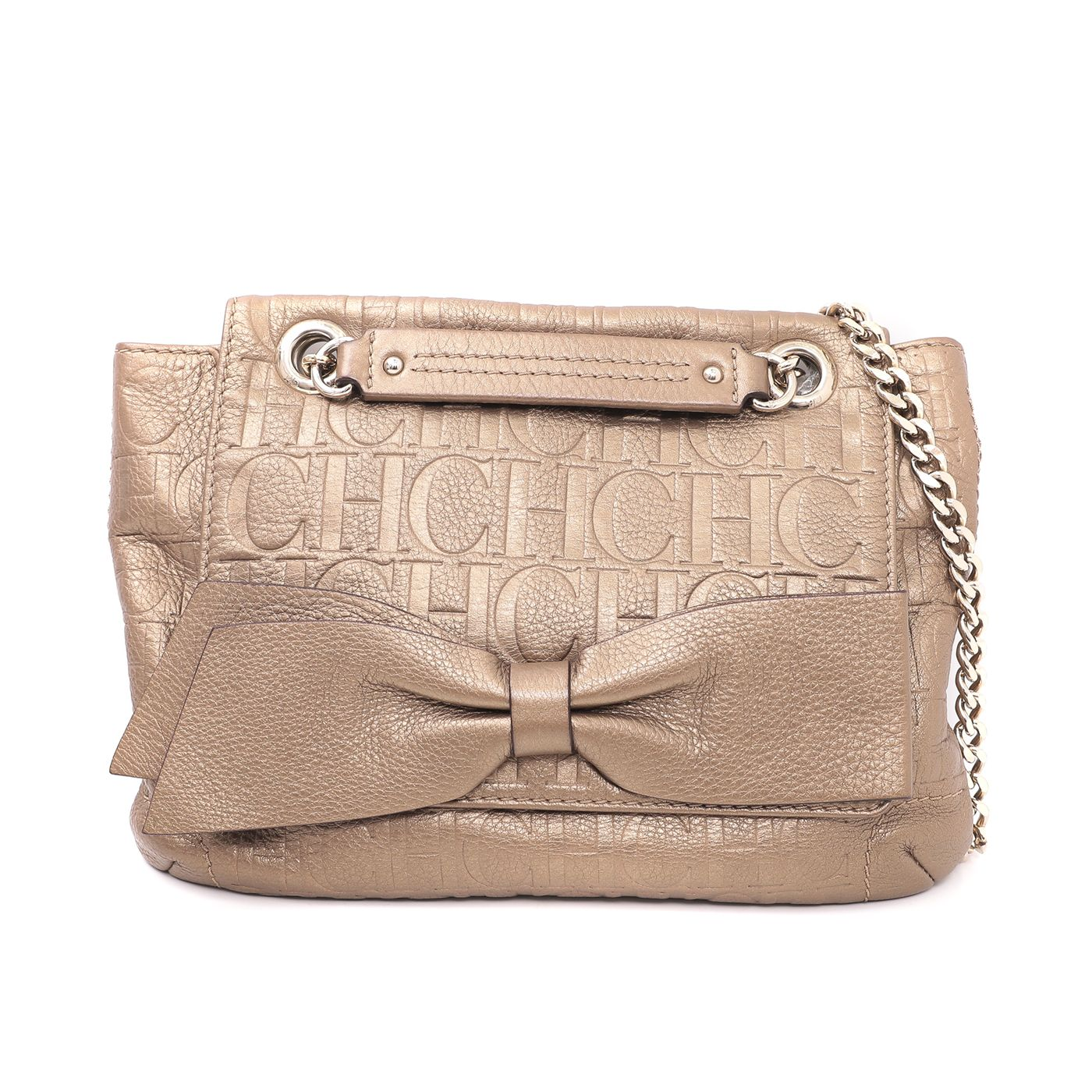 Carolina Herrera Bronze Monogram Audrey Bow Chain Bag