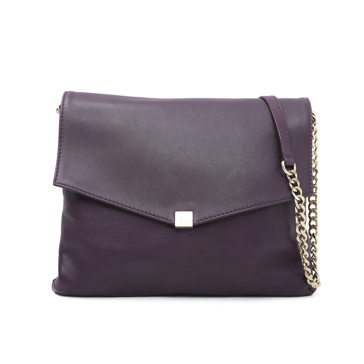 Carolina Herrera Purple Envelope Flap Flat Shoulder Bag