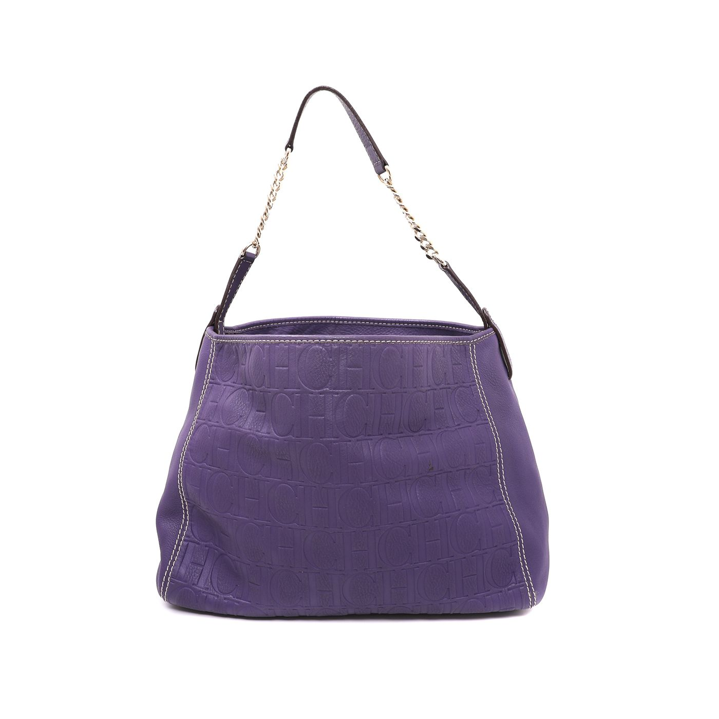 Carolina Herrera Purple Monogram Soft Open Shoulder Bag