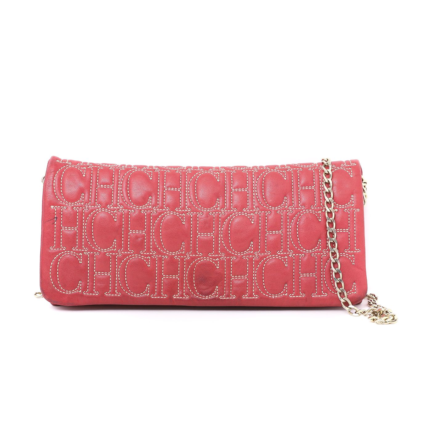 Carolina Herrera Red Monogram Flap Clutch