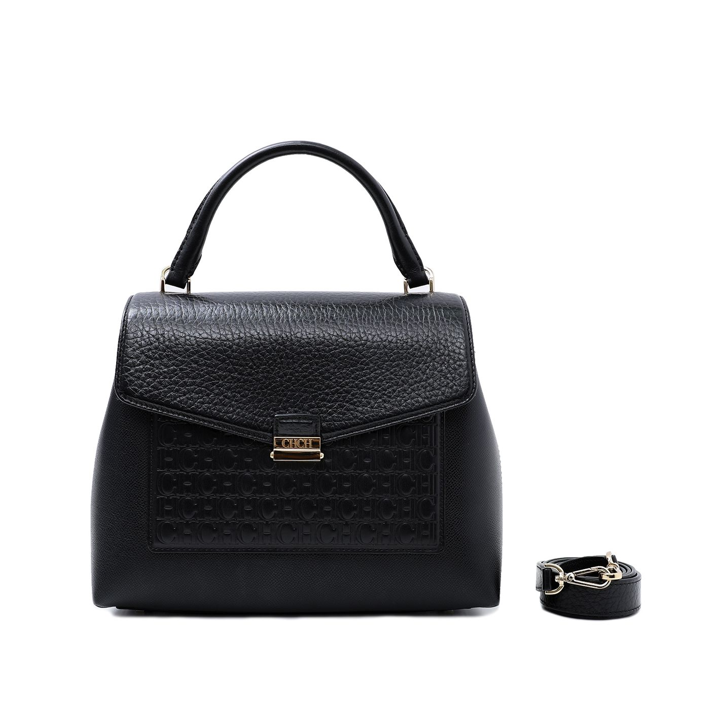 Carolina Herrera Black Monogram Top Handle Bag
