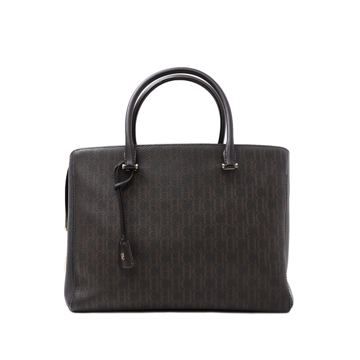 Carolina Herrera Dark Brown Monogram Padlock Top Handle Tote Bag