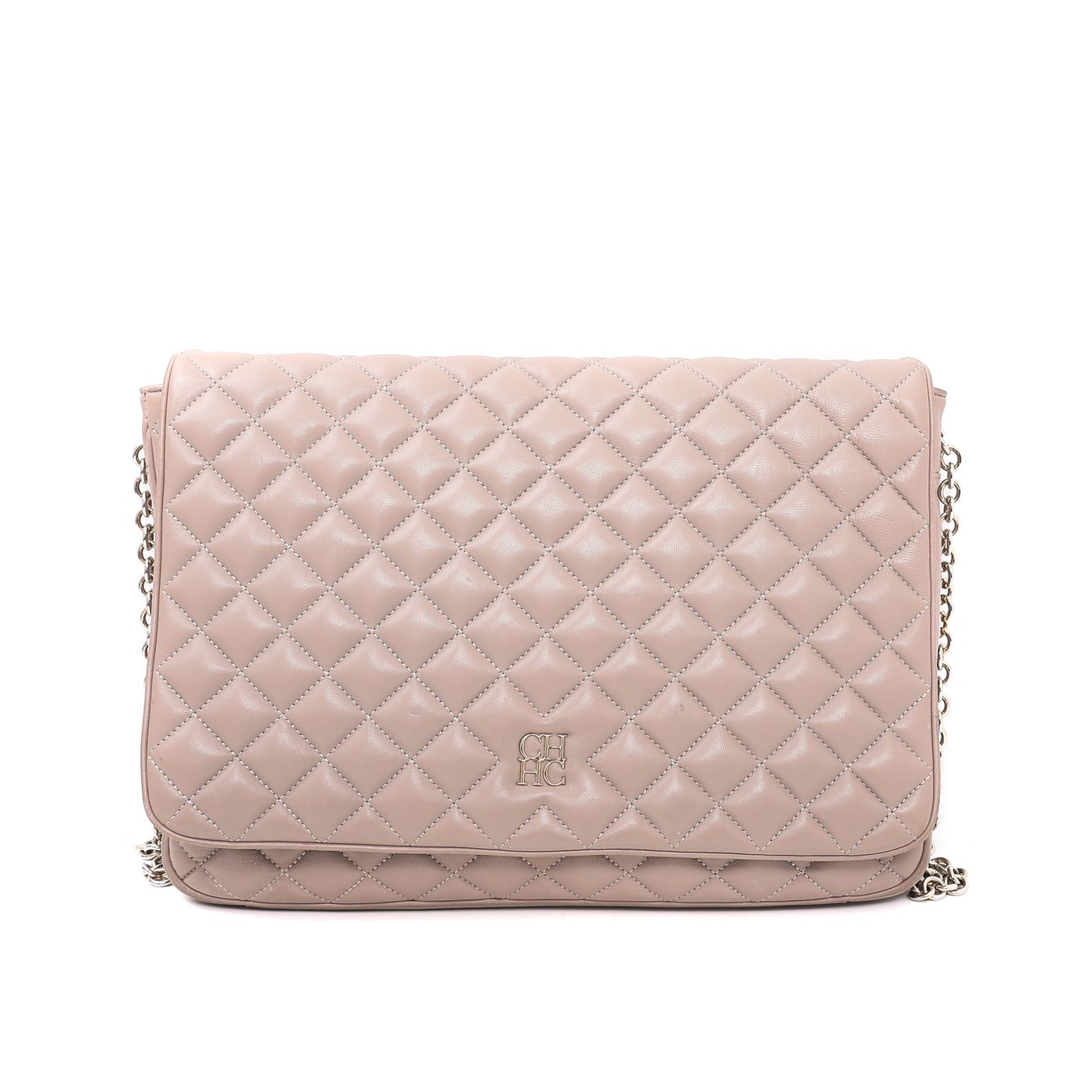 Carolina Herrera Beige Quilted Chain Flap Bag