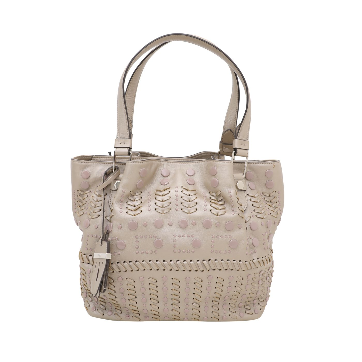 Tod's Champagne Piccola Ricami Shopping Perforated Bag
