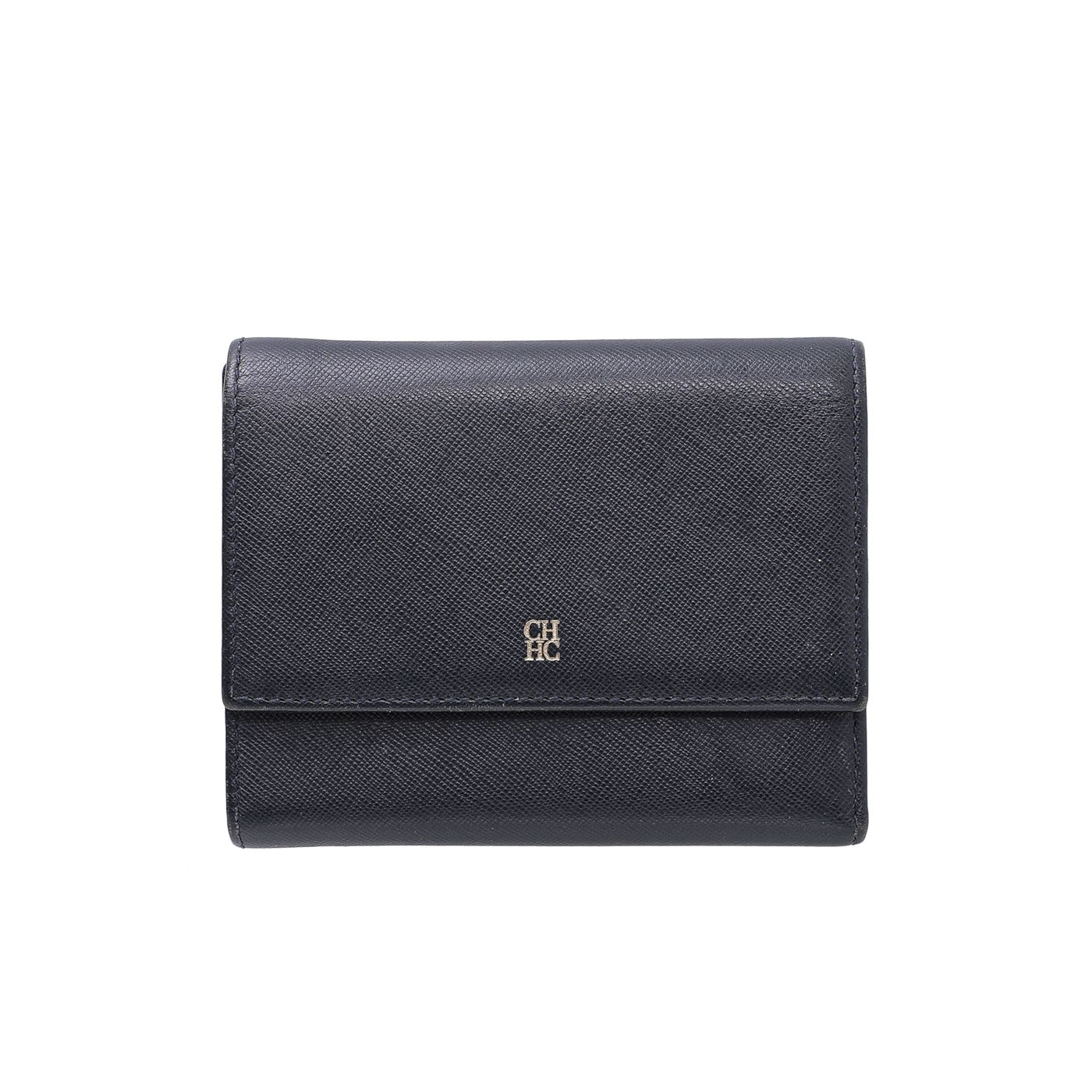 Carolina Herrera Navy Blue Trifold Wallet w/ Removable Coin Purse