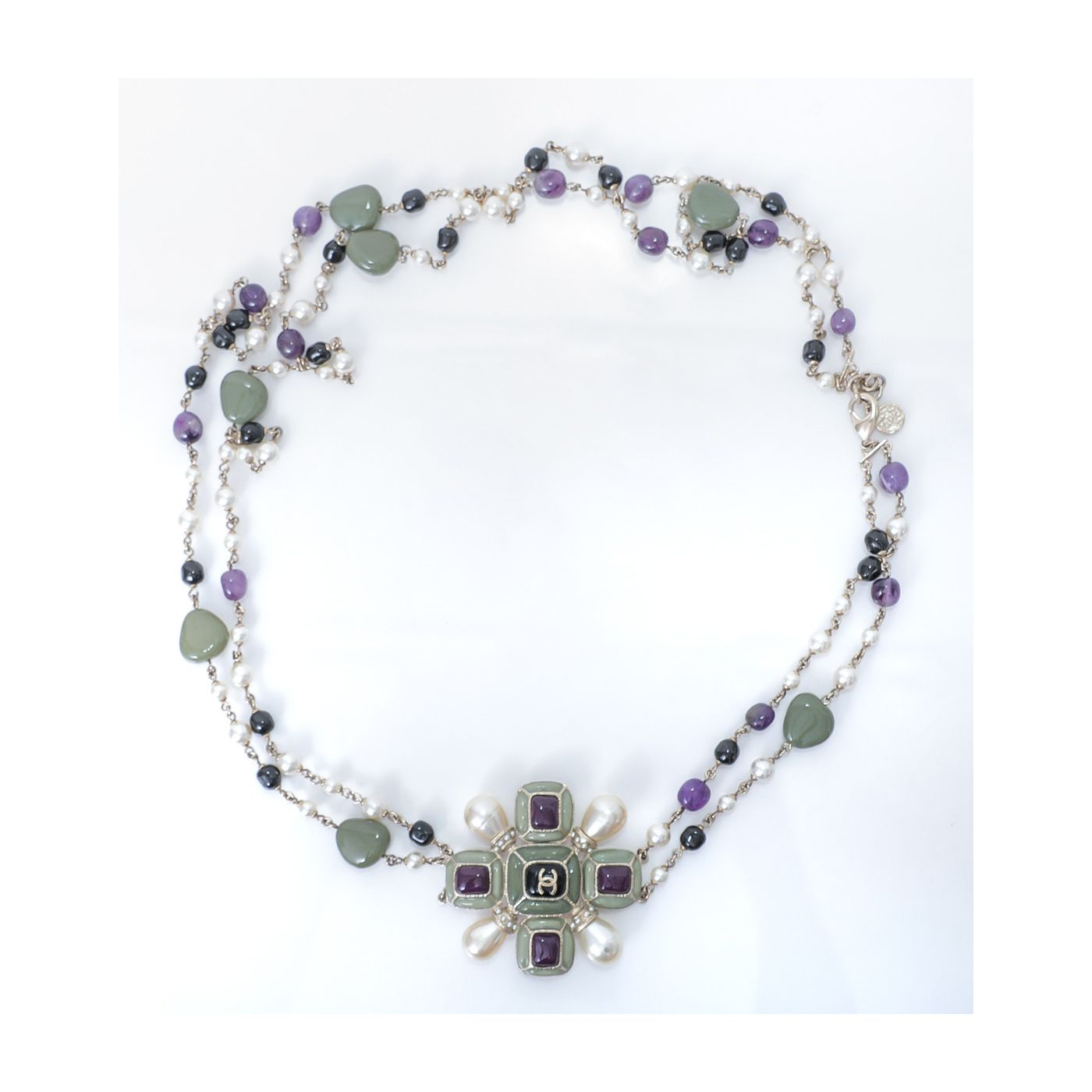 Chanel 100 Anniversary Multicolor Stones Pearls Necklace