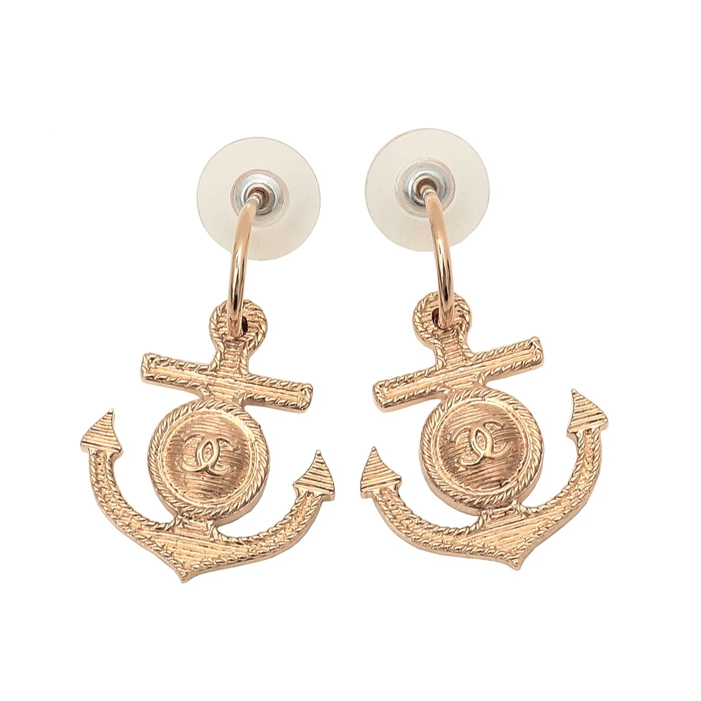 Chanel Gold Finish CC Anchor Earrings