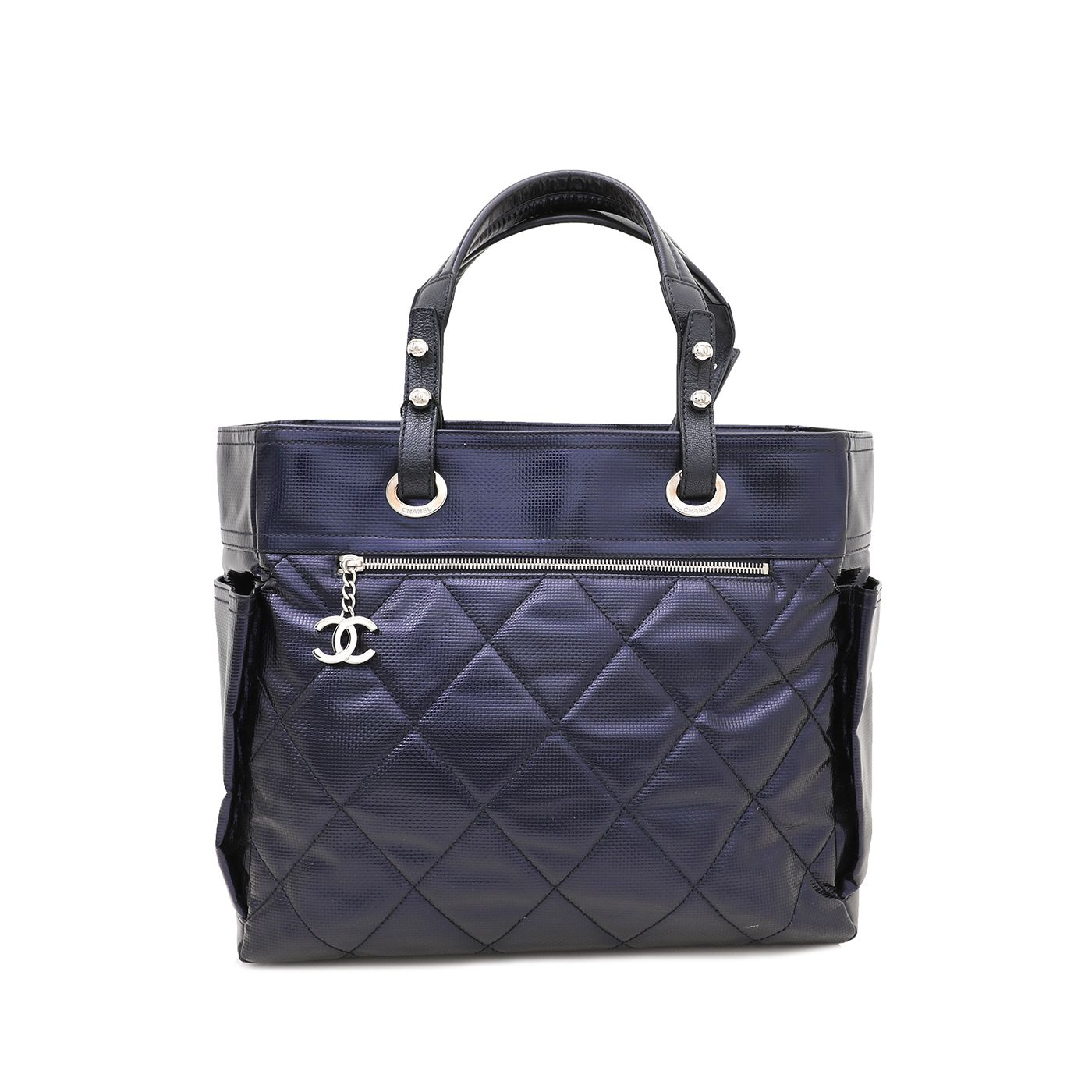 Chanel Metallic Purple Biarritz Tote Bag W/ Pouch Large
