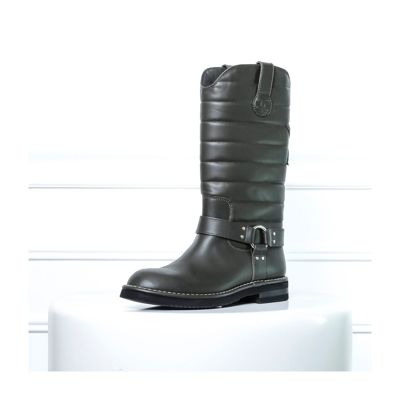 Chanel Navy Green Boots 39
