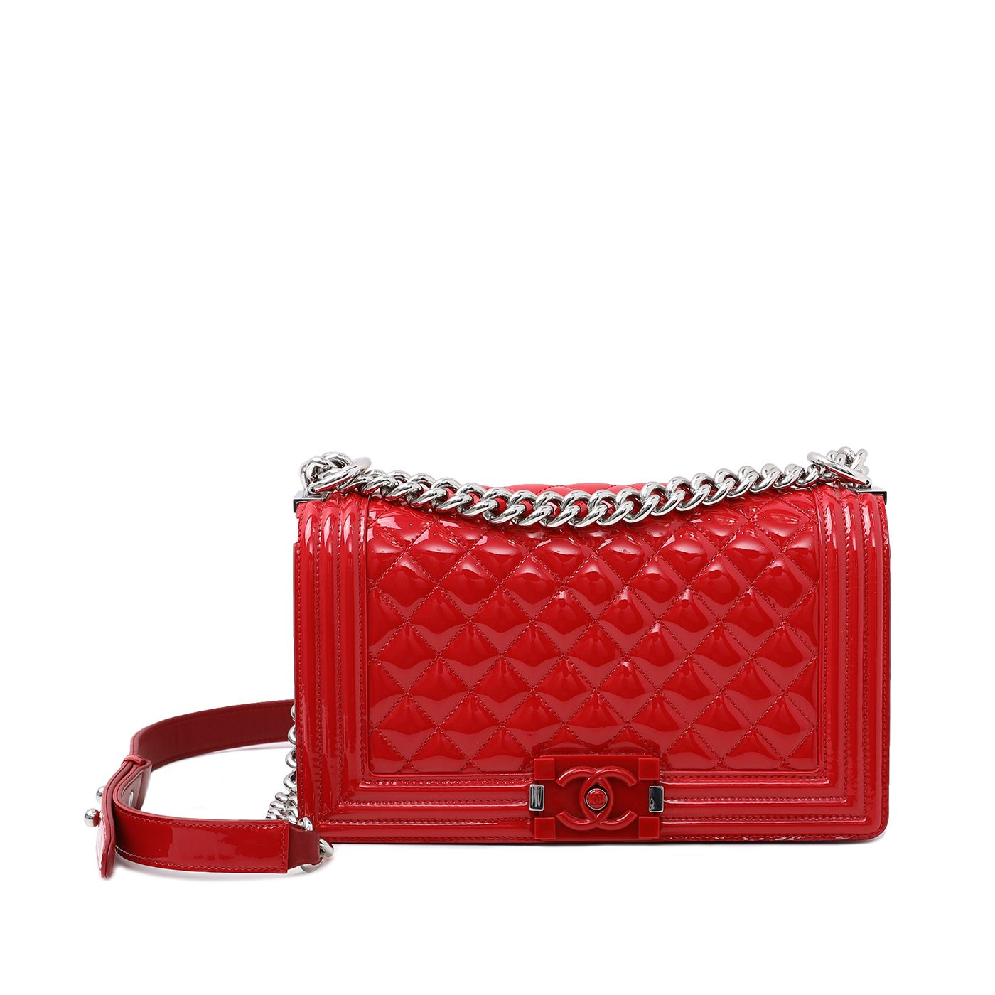 Chanel Red Boy Plexiglass Lock Bag