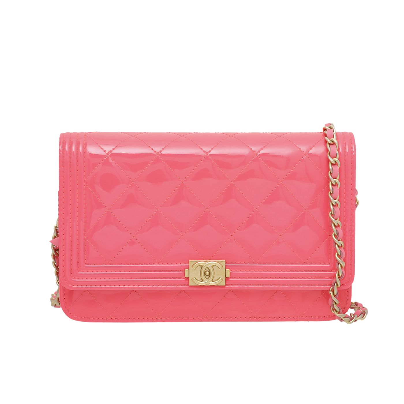 Chanel Neon Pink Boy Wallet On Chain Small