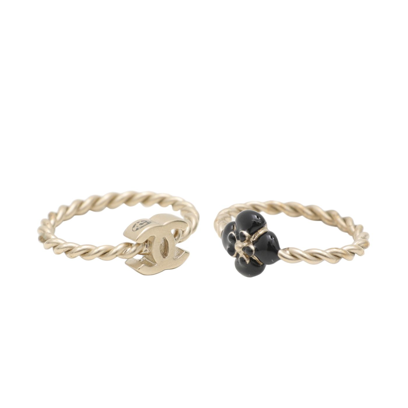 Chanel Gold Black Camellia CC Double Ring