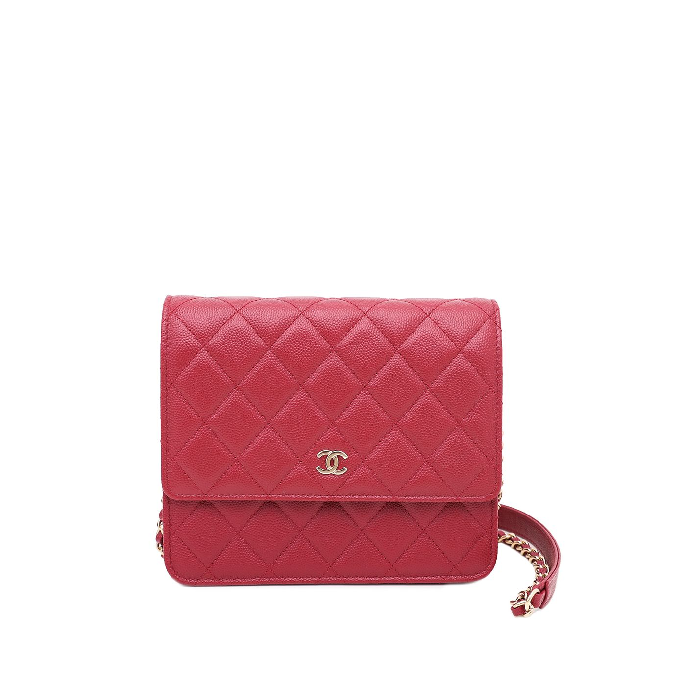 Chanel Red Square Wallet On Chain