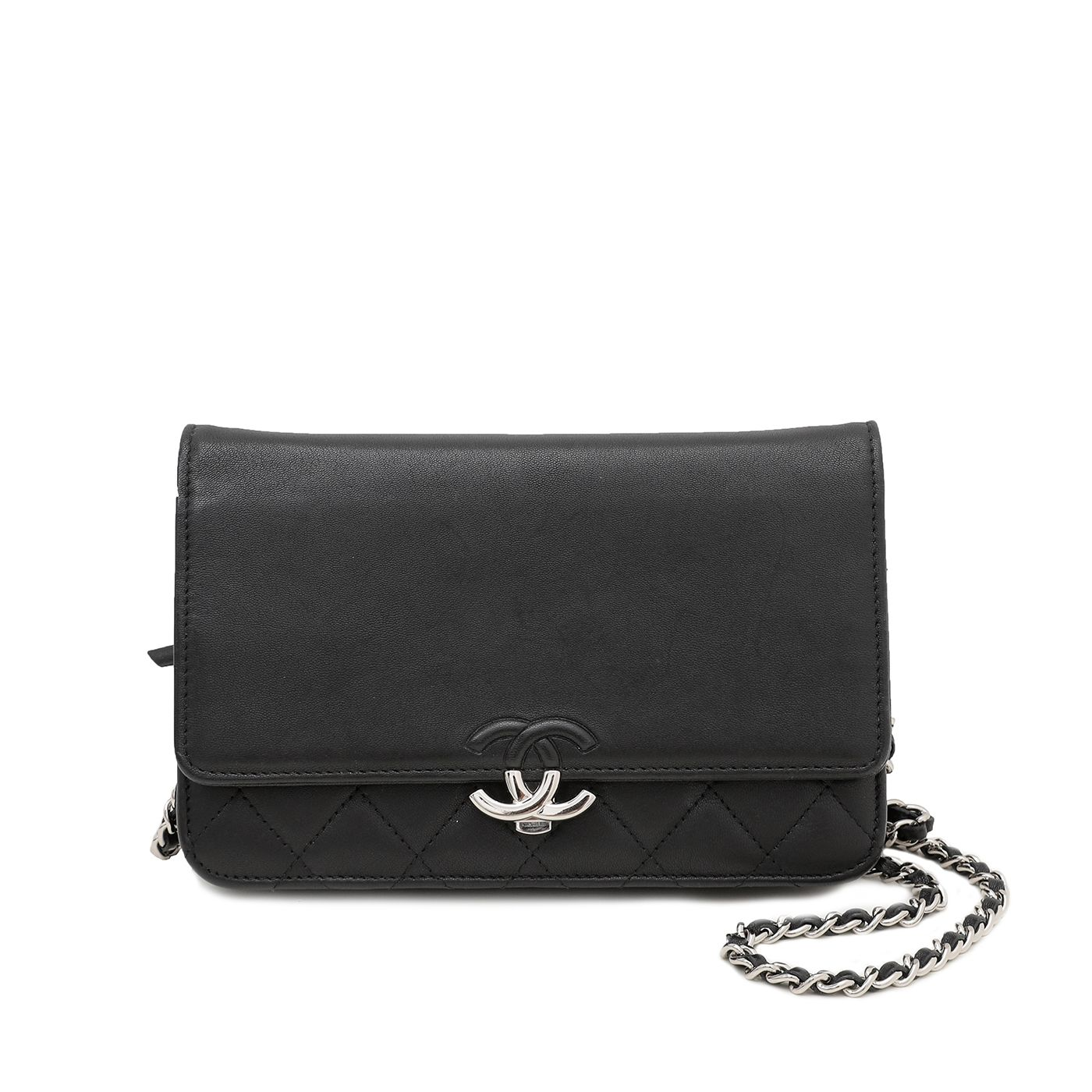 Chanel Black CC Box Wallet On Chain