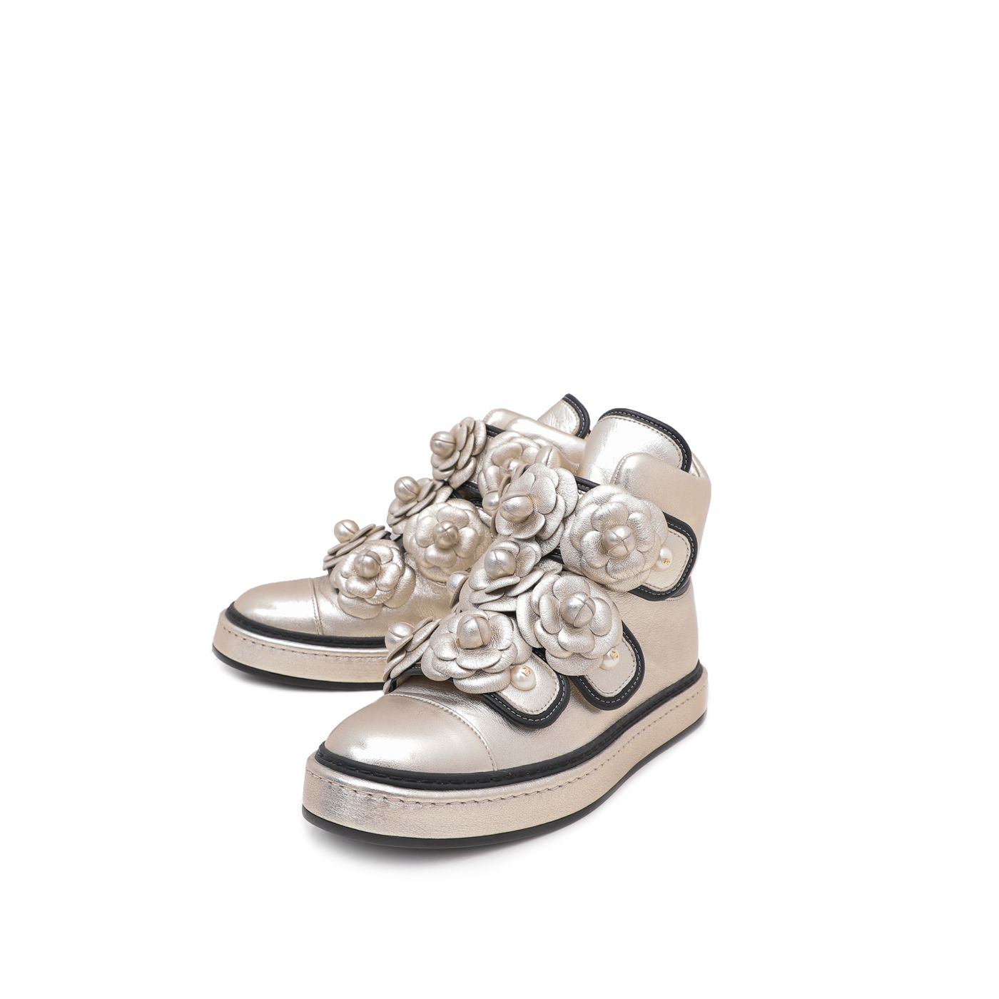 Chanel Champagne CC Camellia Flowers Metallic Pearl Sneakers 37