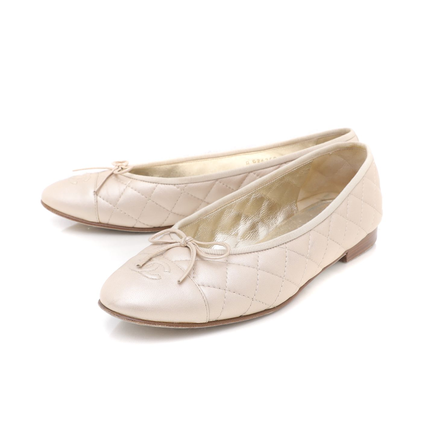 Chanel Metallic Gold CC Cap Toe Bow Flats Ballerina 41
