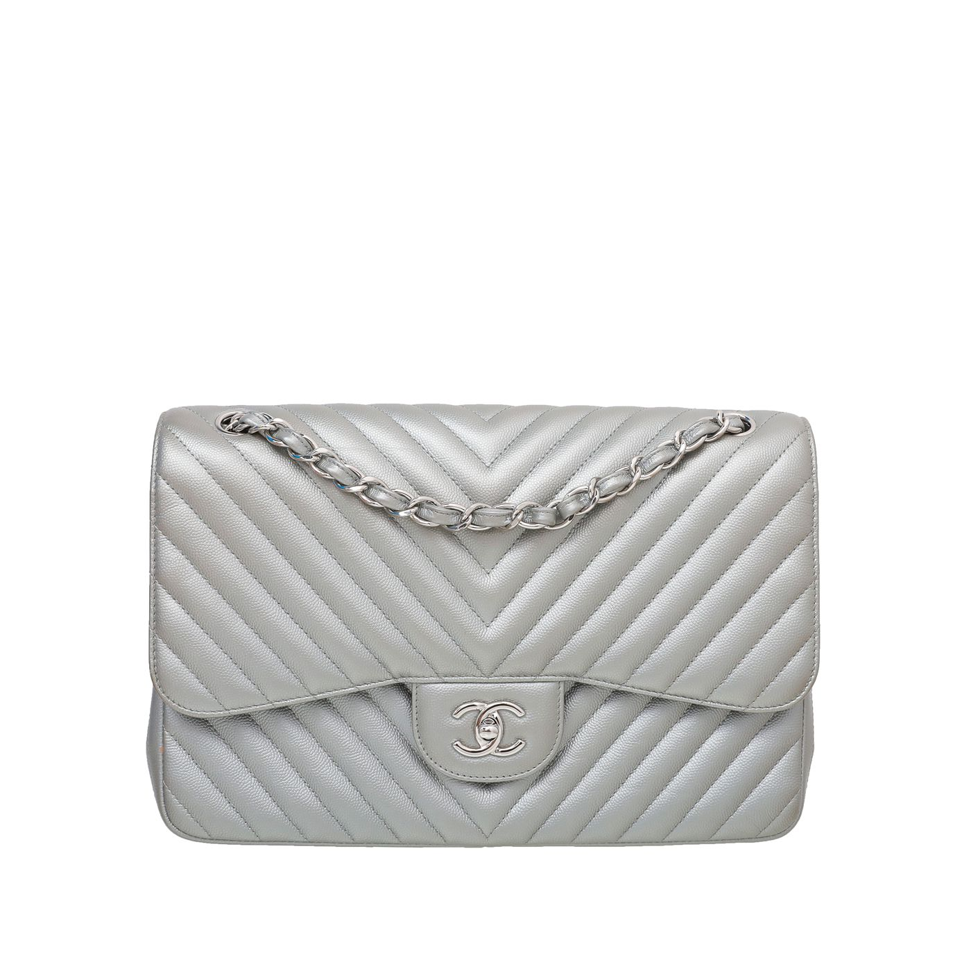 Chanel Metallic Grey CC Chevron Double Flap Jumbo Bag