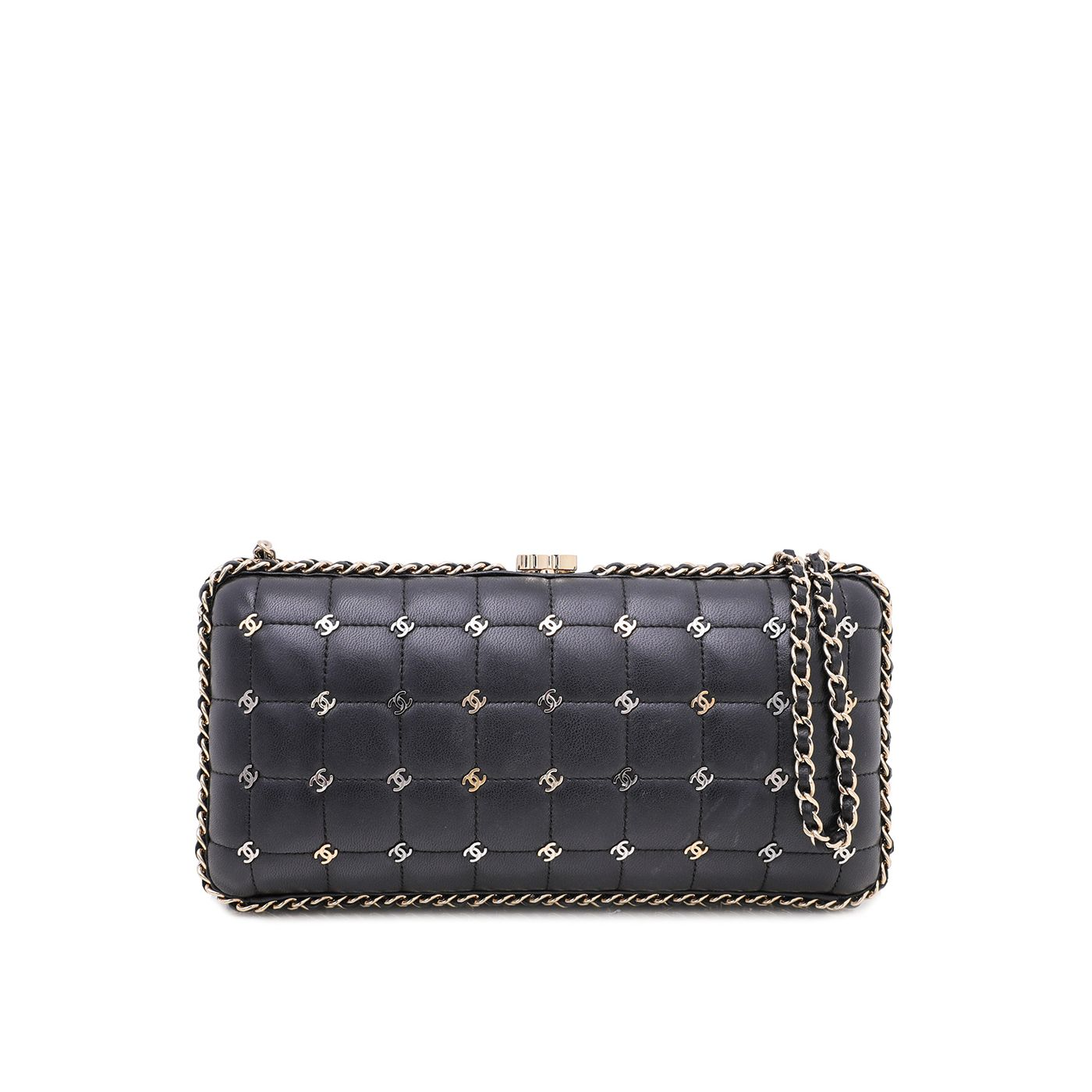 Chanel Black CC Chain Around Signature Clutch