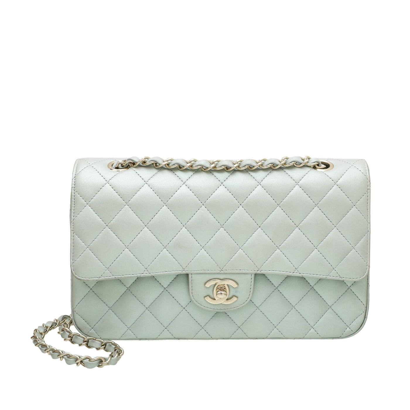 Chanel Pearly Green CC Classic Double Flap Medium Bag