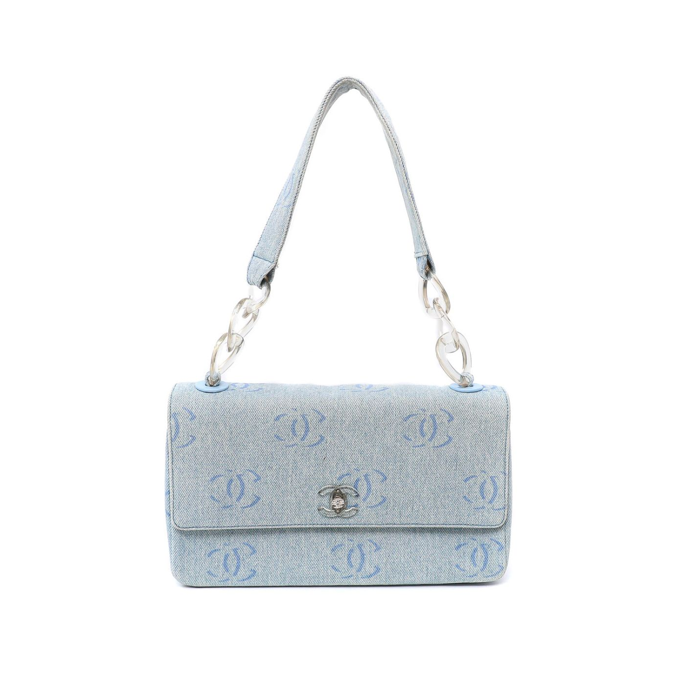 Chanel Blue CC Classic Flap Lucite Link Bag