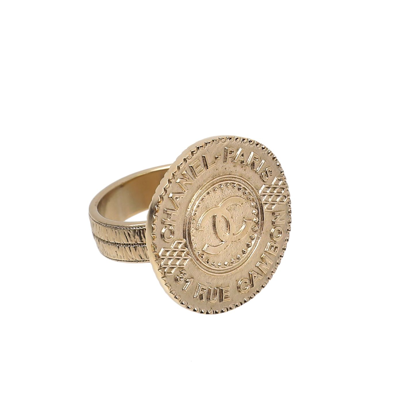 Chanel Light Gold CC Coin Medallion Ring