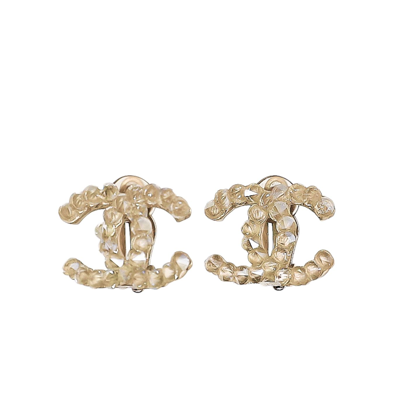 Chanel Gold Tone CC Crystal Clip On Earrings