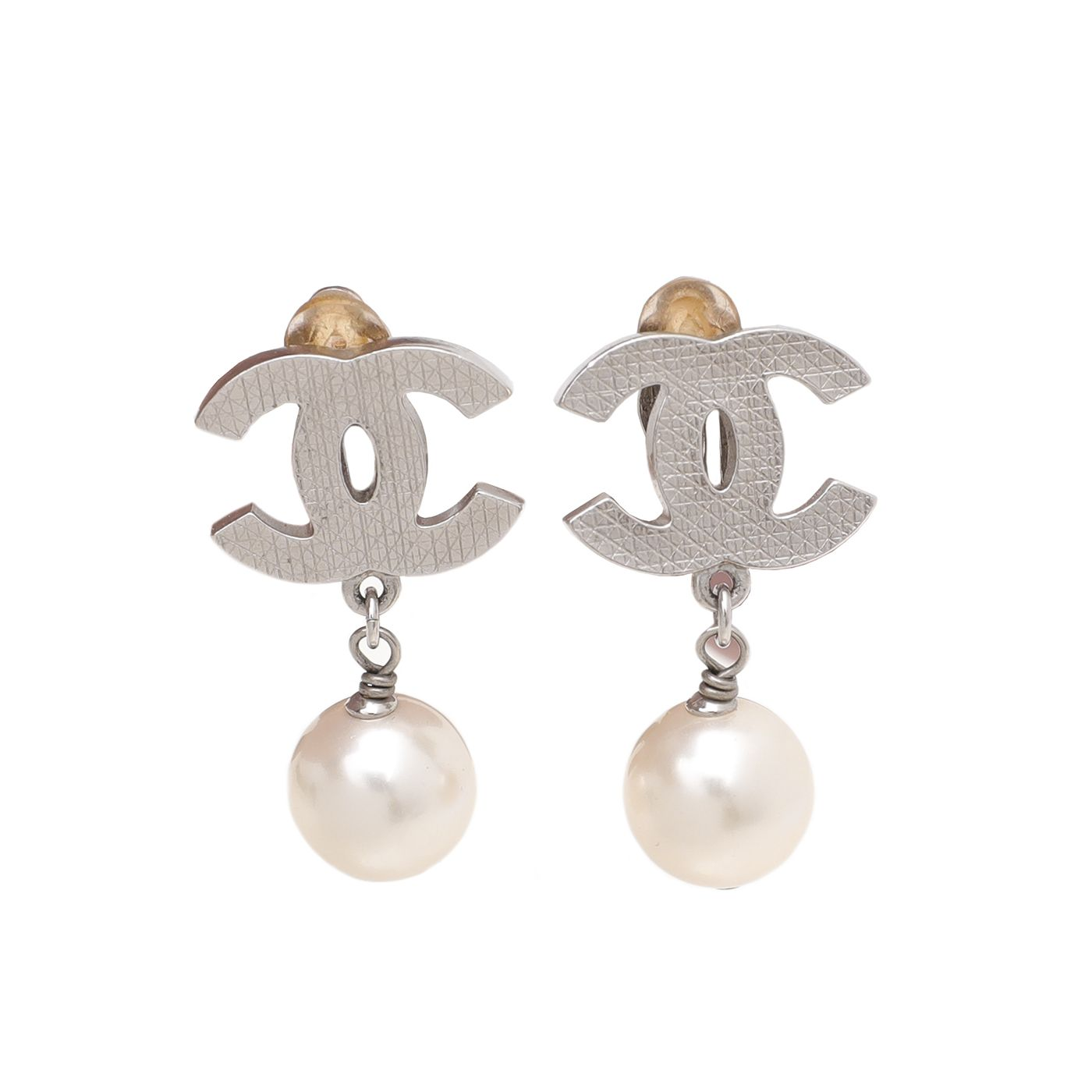 Chanel White CC Crystal Pearl Clip On Earrings