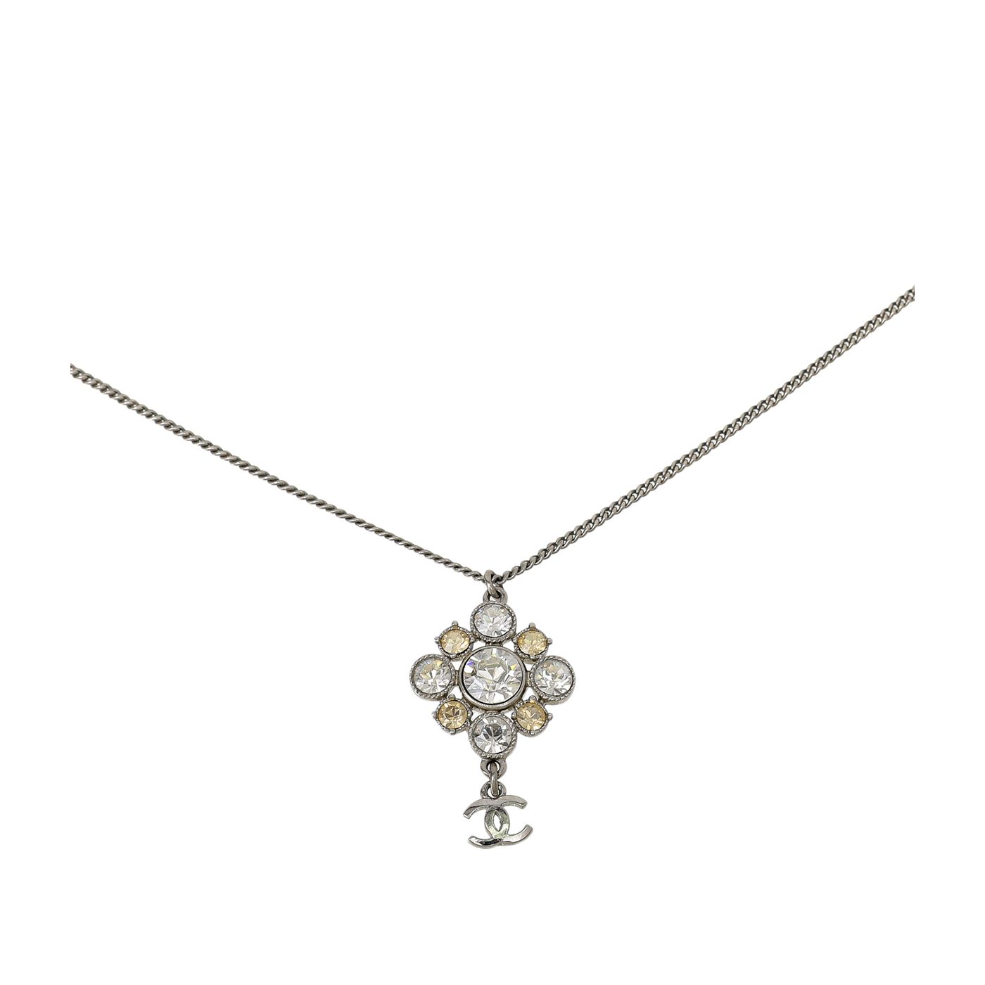Chanel Silver CC Crystal Pendant Gripoix Chain Necklace