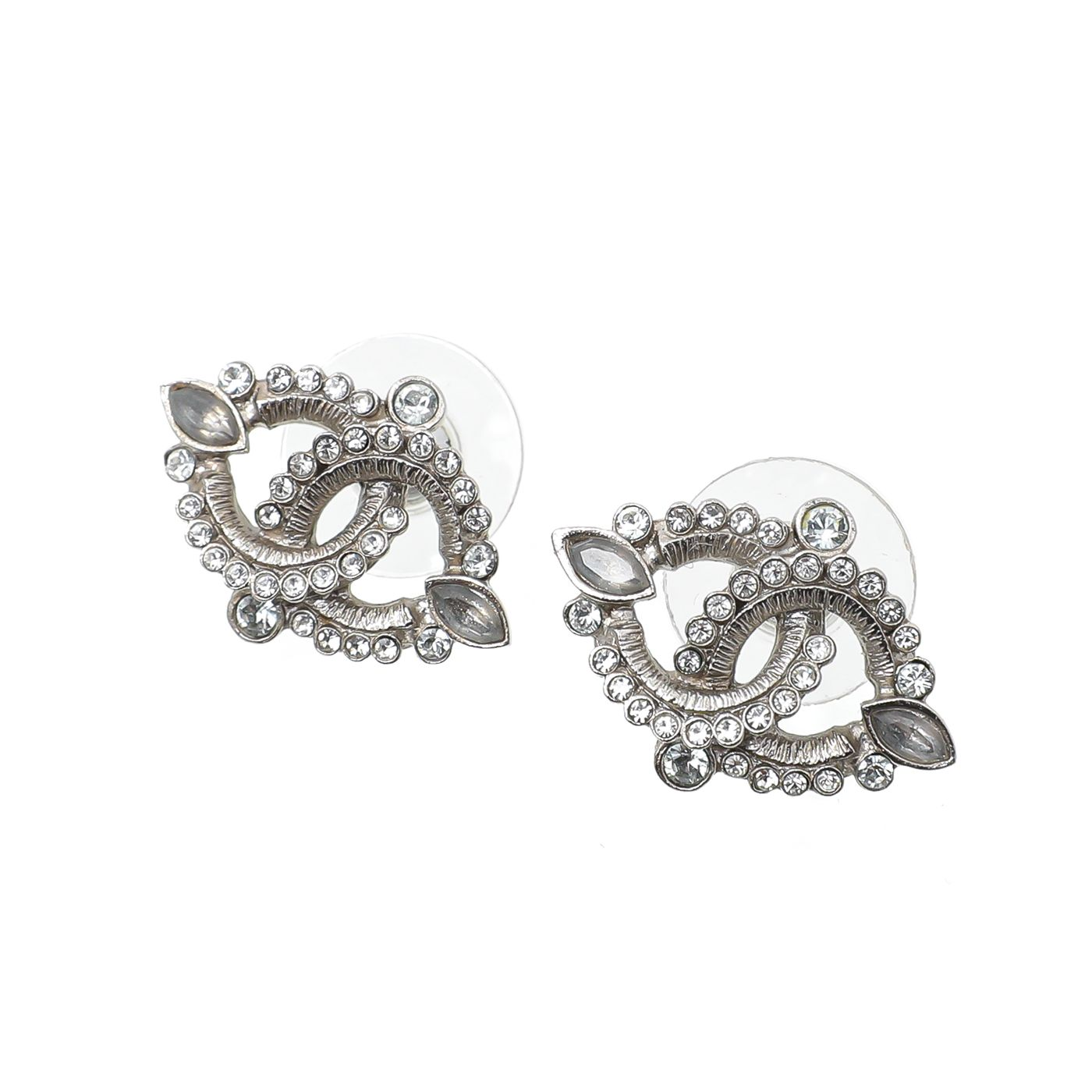 Chanel Silver CC Crystals Earrings