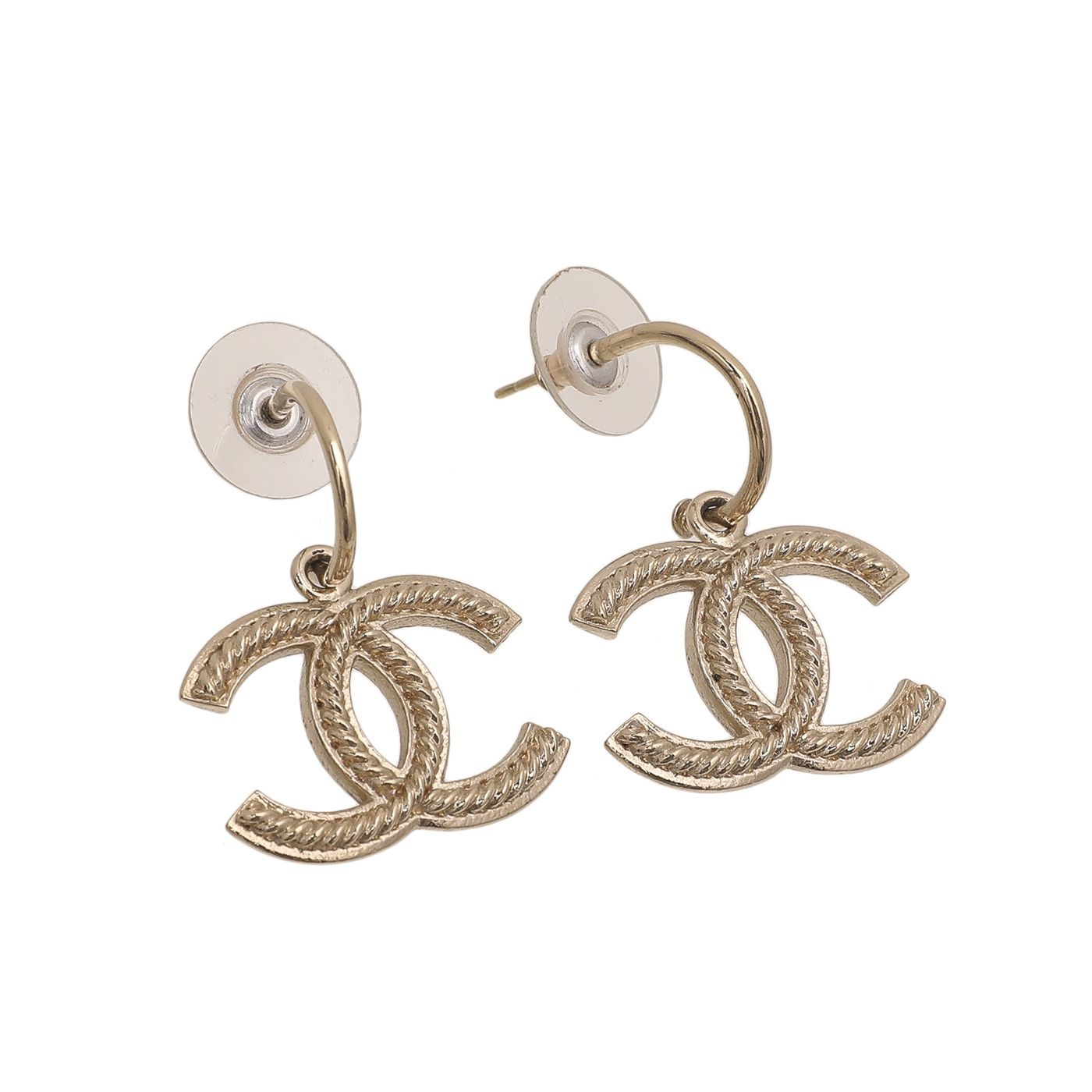 Chanel Gold CC Hoop Earrings