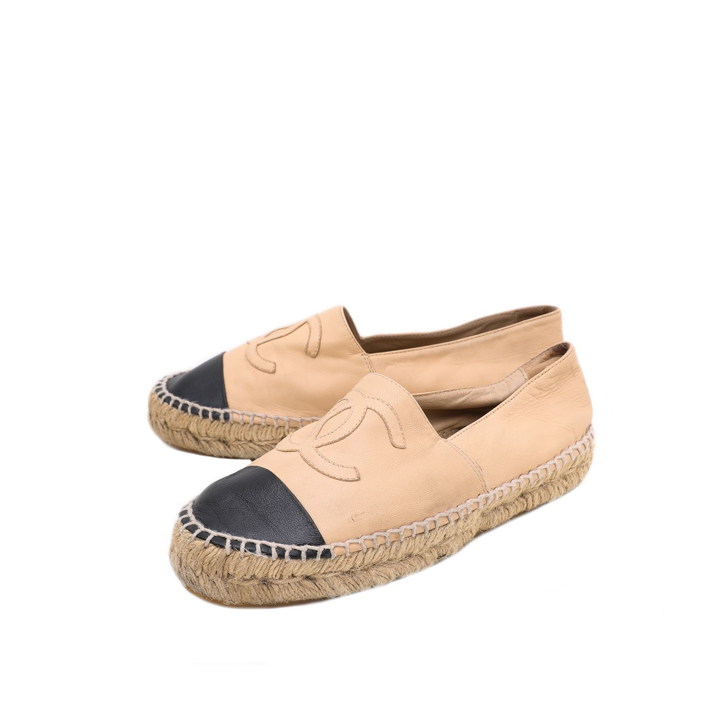 Chanel Bicolor CC Leather Espadrille 35