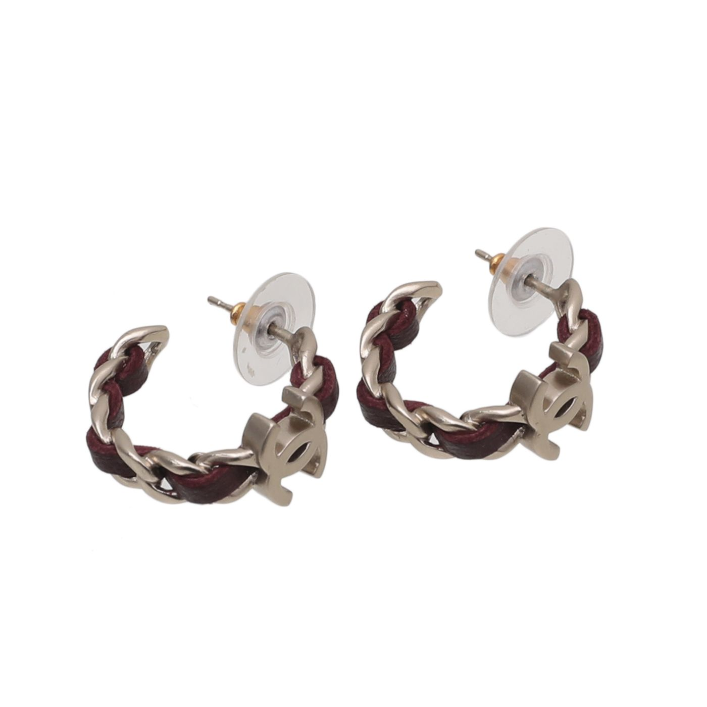 Chanel Burgundy CC Woven Chain Hoop Earrings