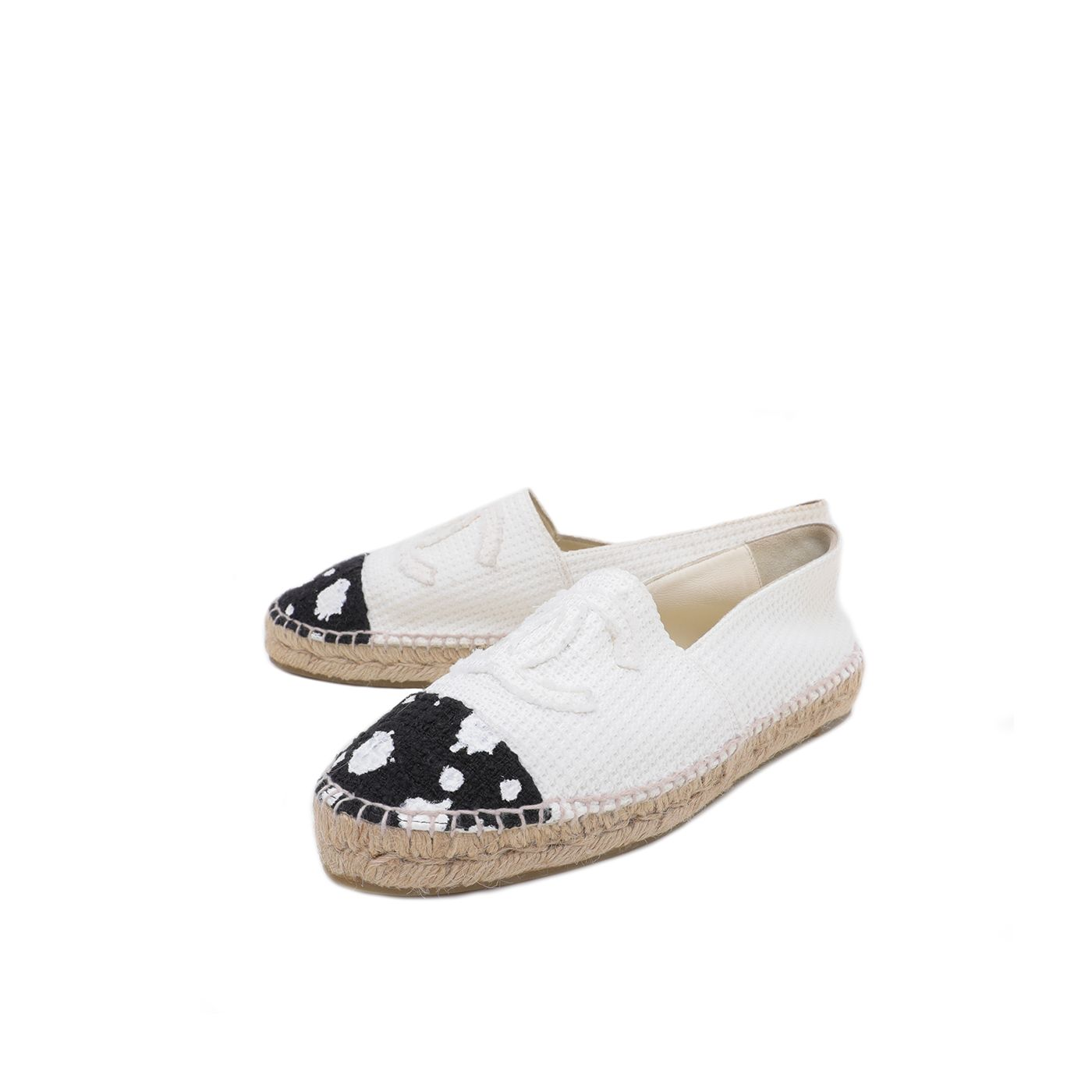 Chanel Bicolor CC Monochrome Paint Espadrille 41