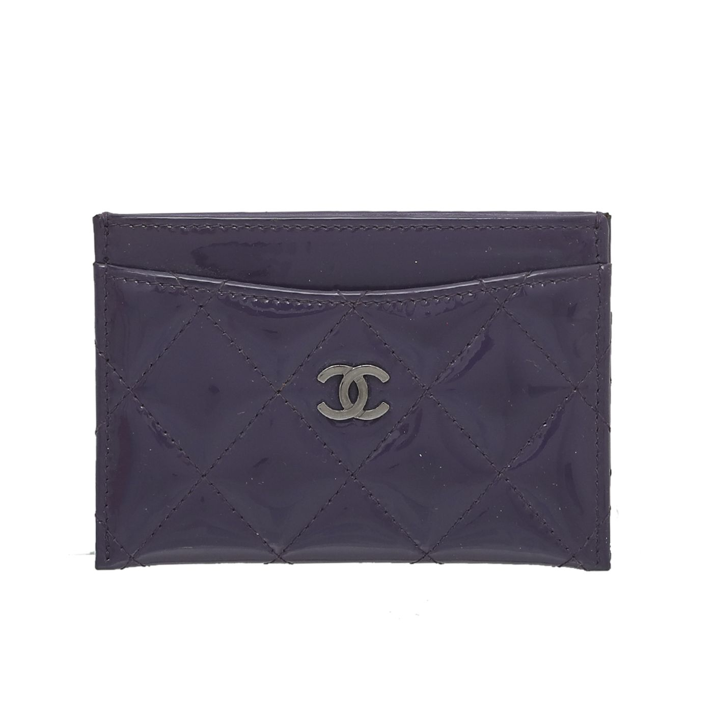 Chanel Violet CC Quilted Card Holder