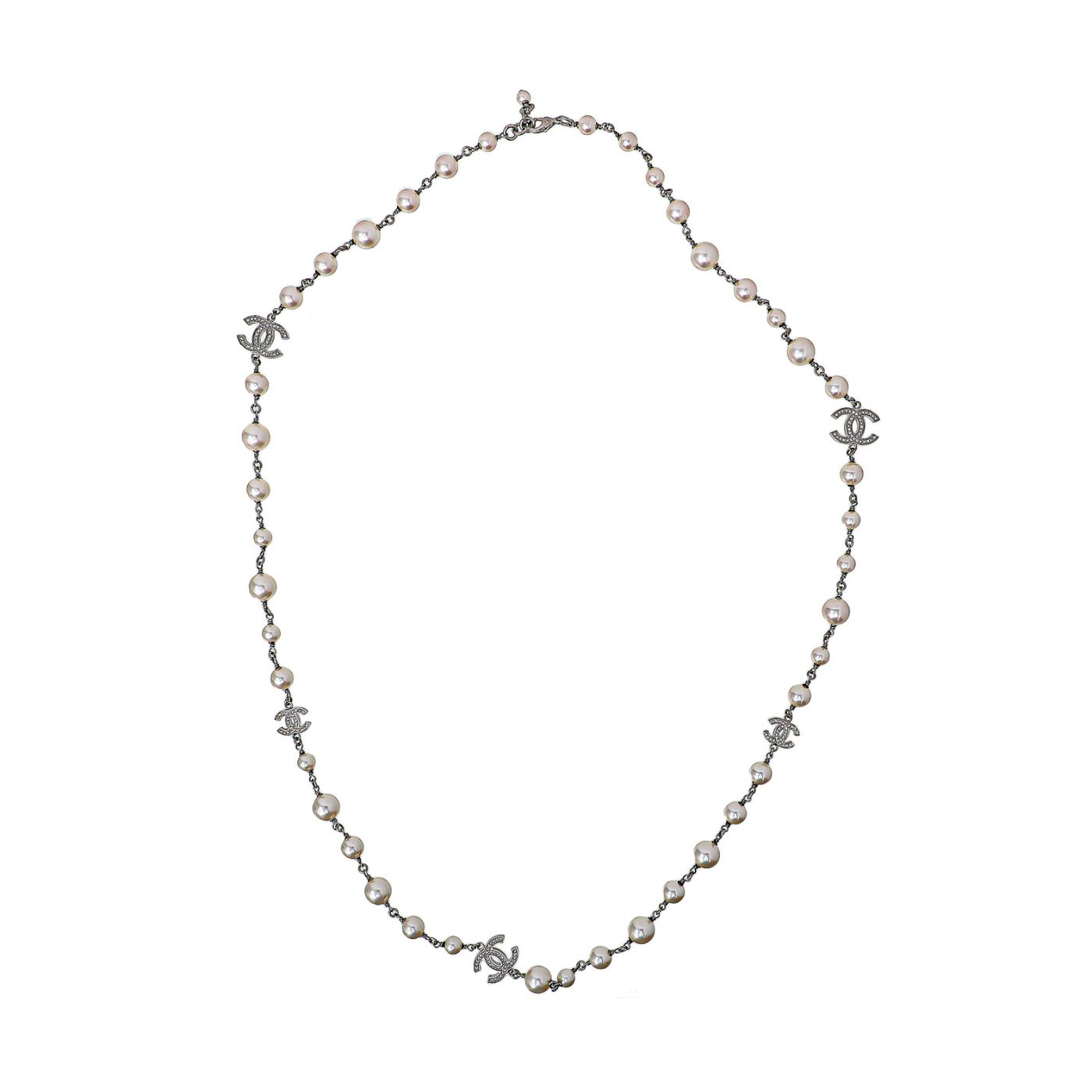 Chanel Silver CC Pearl Long Necklace