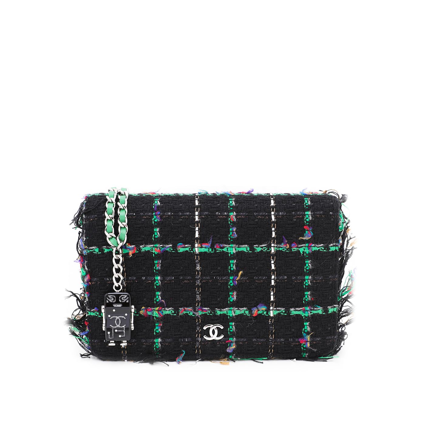 Chanel Bicolor CC Robot Tweed Wallet On Chain