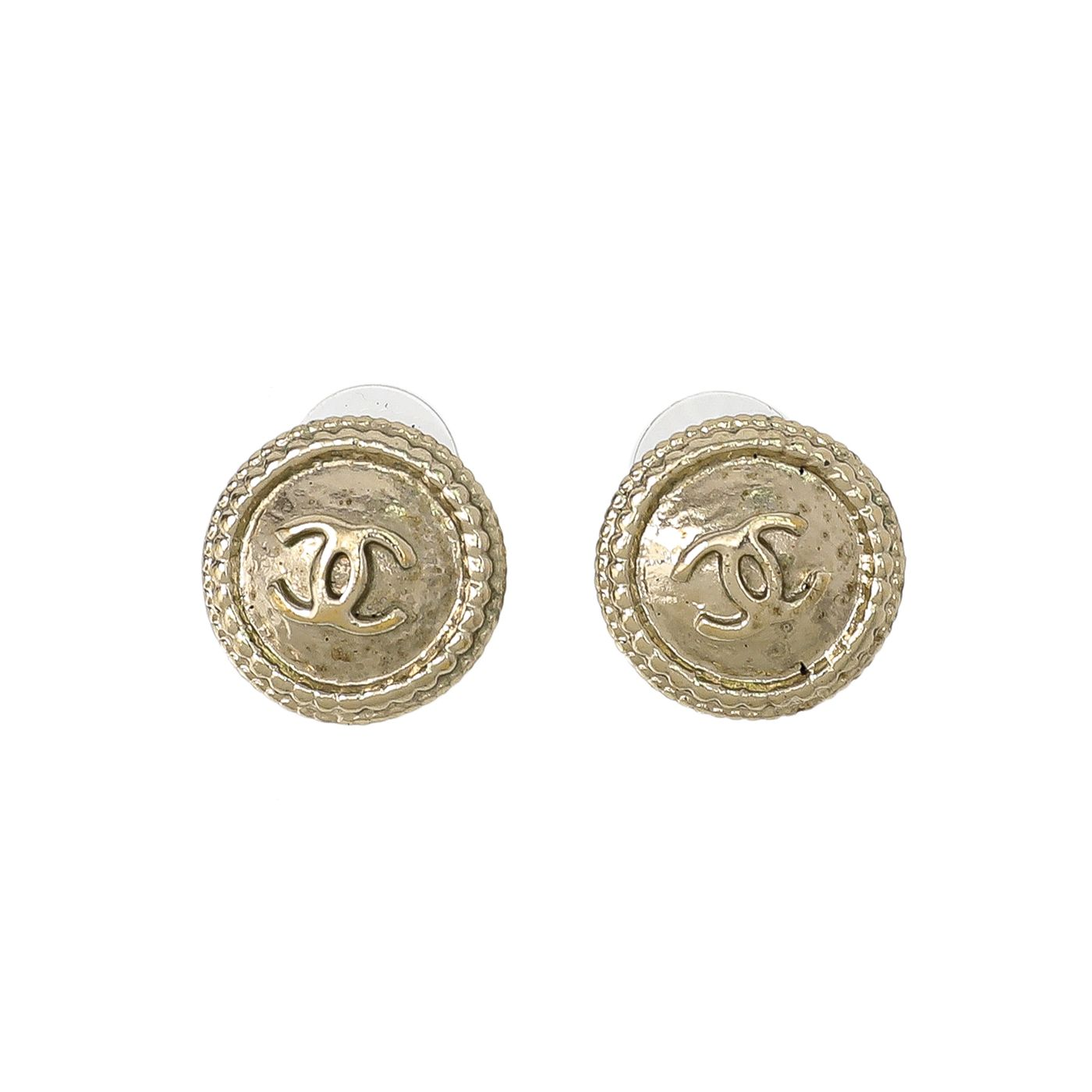Chanel Gold CC Round Coin Earrings